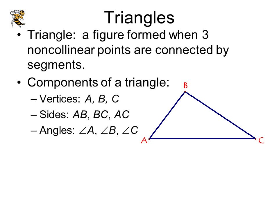 Triangles Triangle: a figure formed when 3 noncollinear points are connected by segments. Components of a triangle: