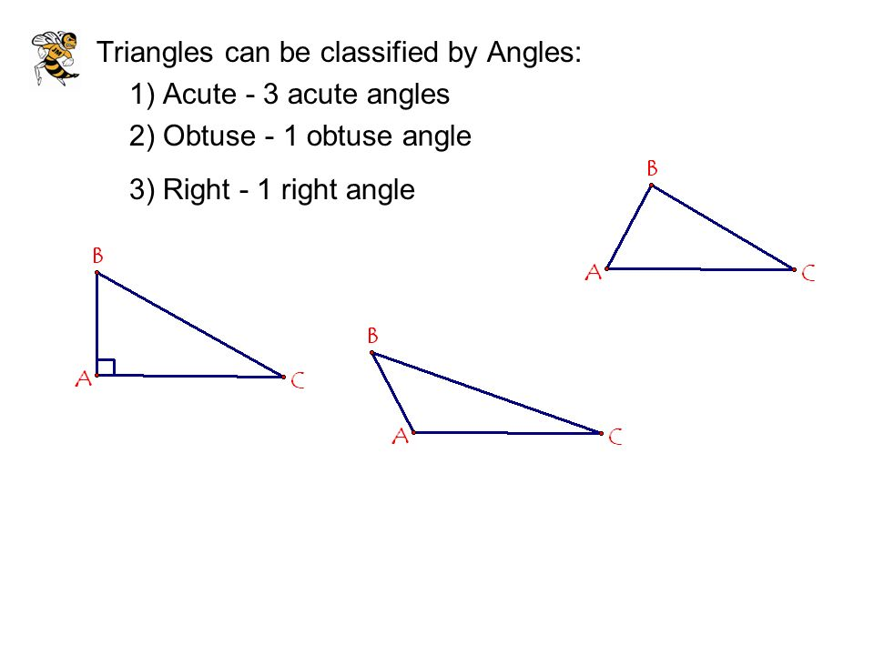 Triangles can be classified by Angles: