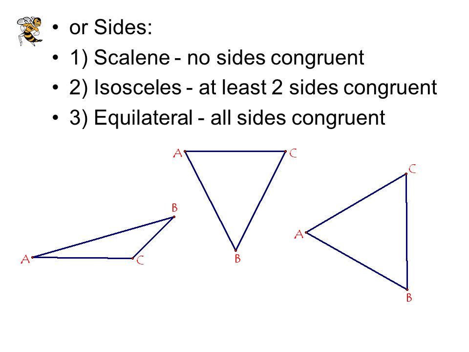 or Sides: 1) Scalene - no sides congruent. 2) Isosceles - at least 2 sides congruent.