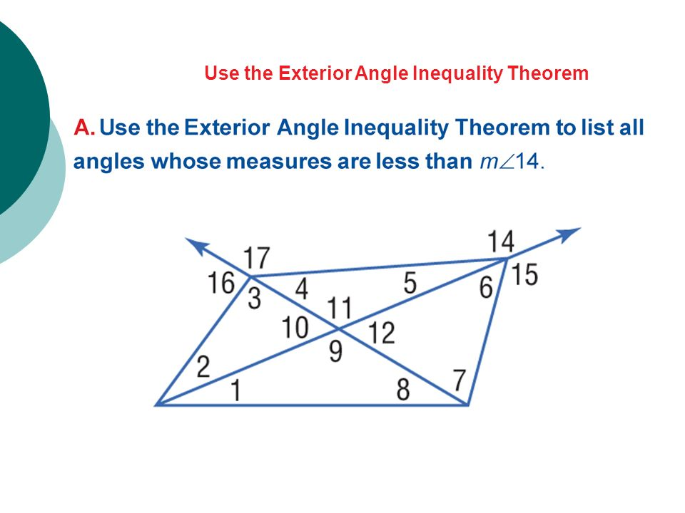 Medians and altitudes of triangles and inequalities in one - The exterior angle theorem answers ...