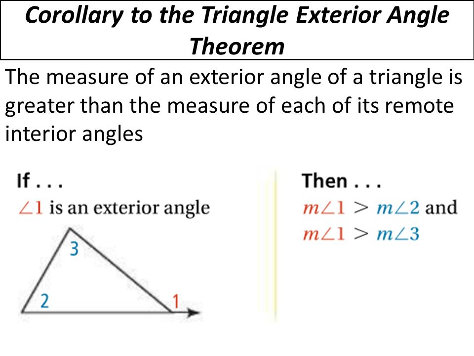 5 6 inequalities in one triangle ppt video online download for Exterior angle theorem