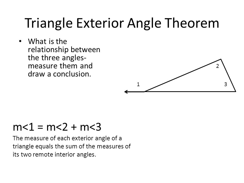 Warm up justify what theorem or postulate you are using - Sum of the exterior angles of a triangle ...