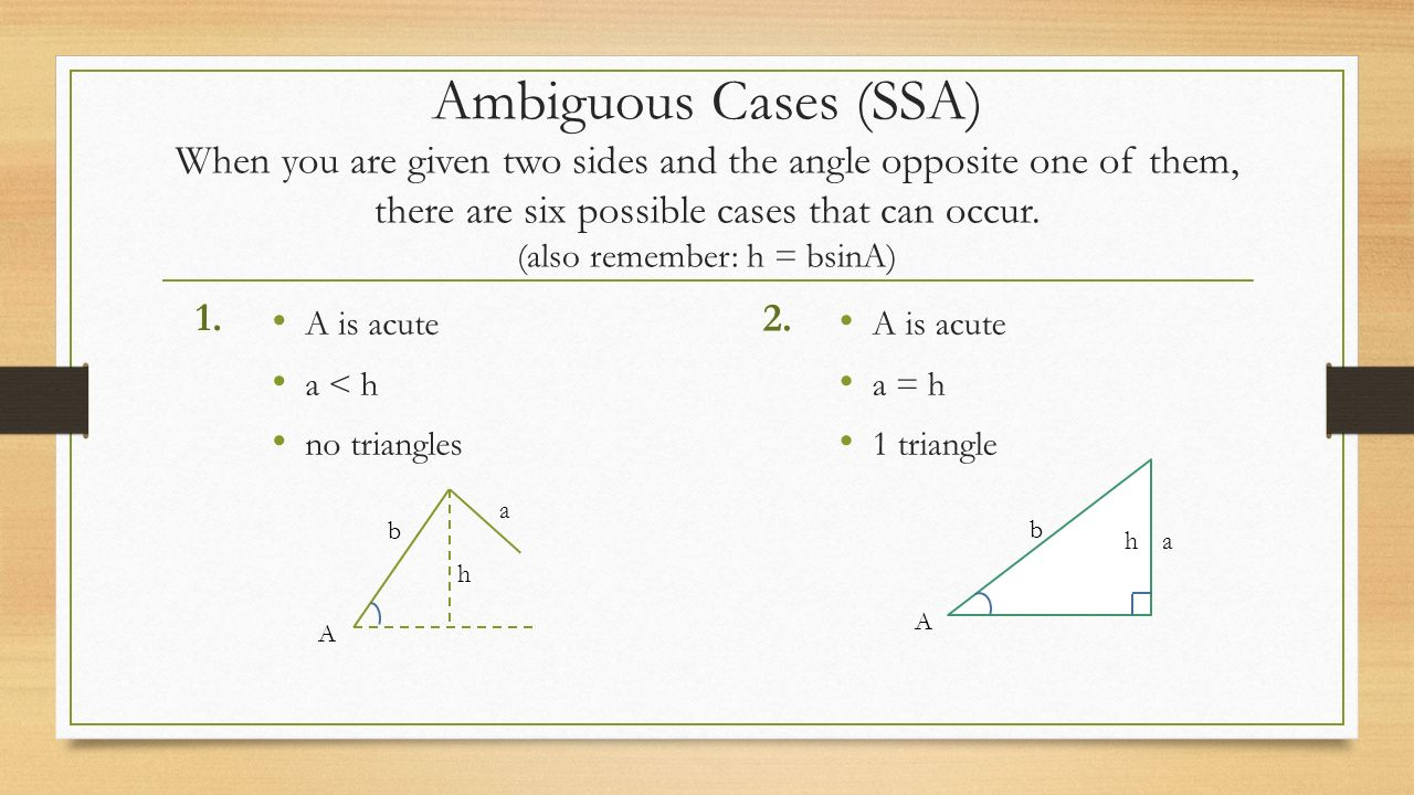 Ambiguous Cases (ssa) When You Are Given Two Sides And The Angle Opposite  One
