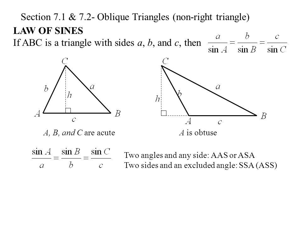 Section 7.1 & 7.2- Oblique Triangles (non-right triangle ...