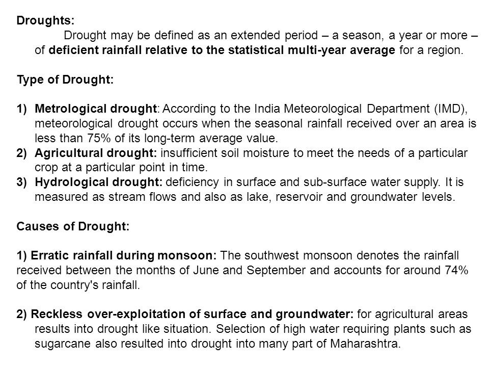 Droughts: