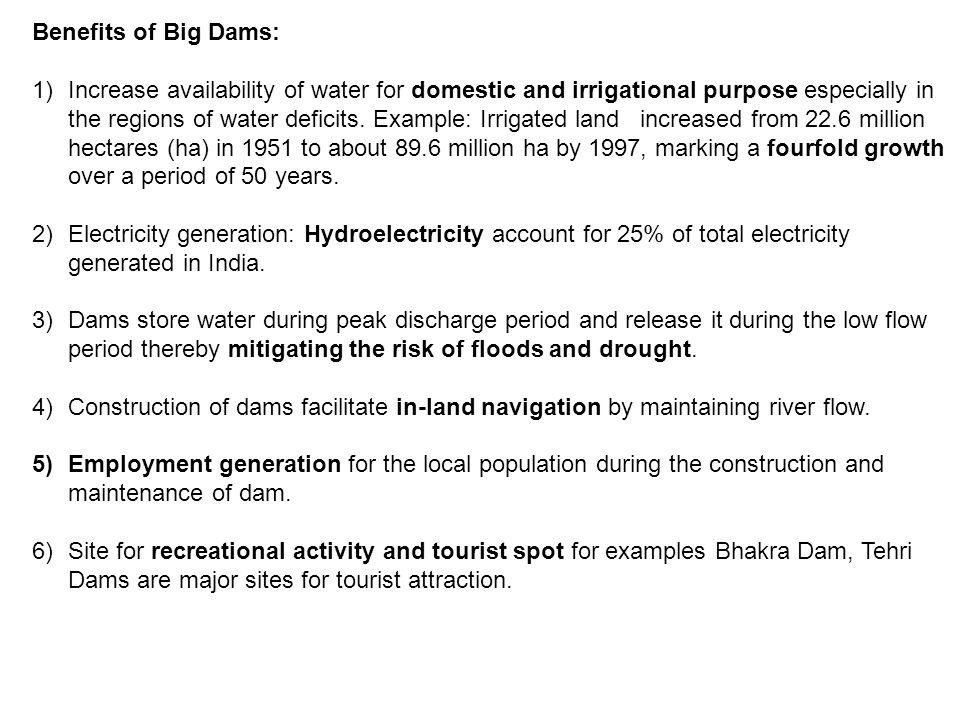 Benefits of Big Dams: