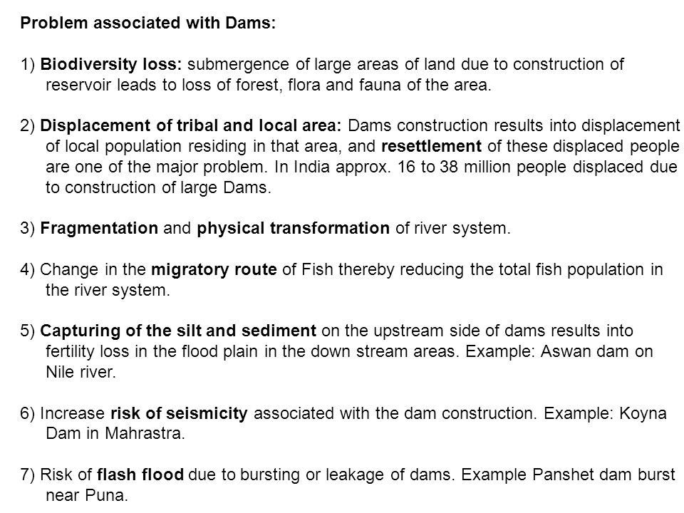 Problem associated with Dams:
