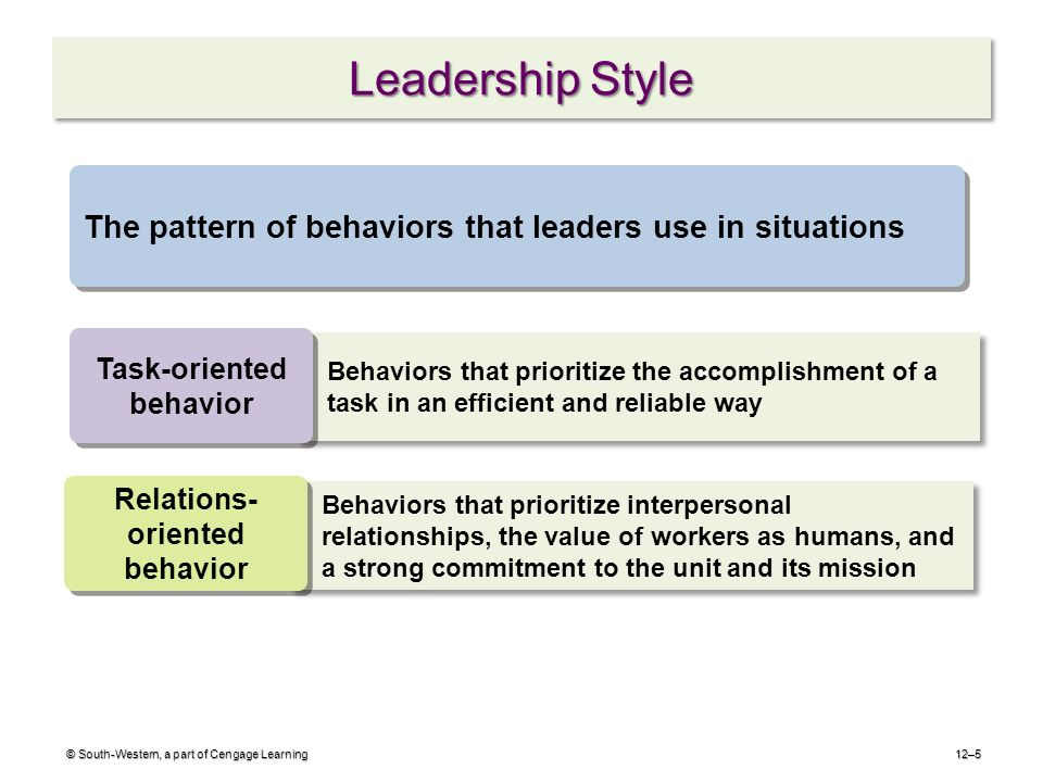 task oriented and relationship leadership behaviors attributes