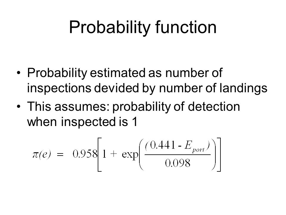 Probability function Probability estimated as number of inspections devided by number of landings.