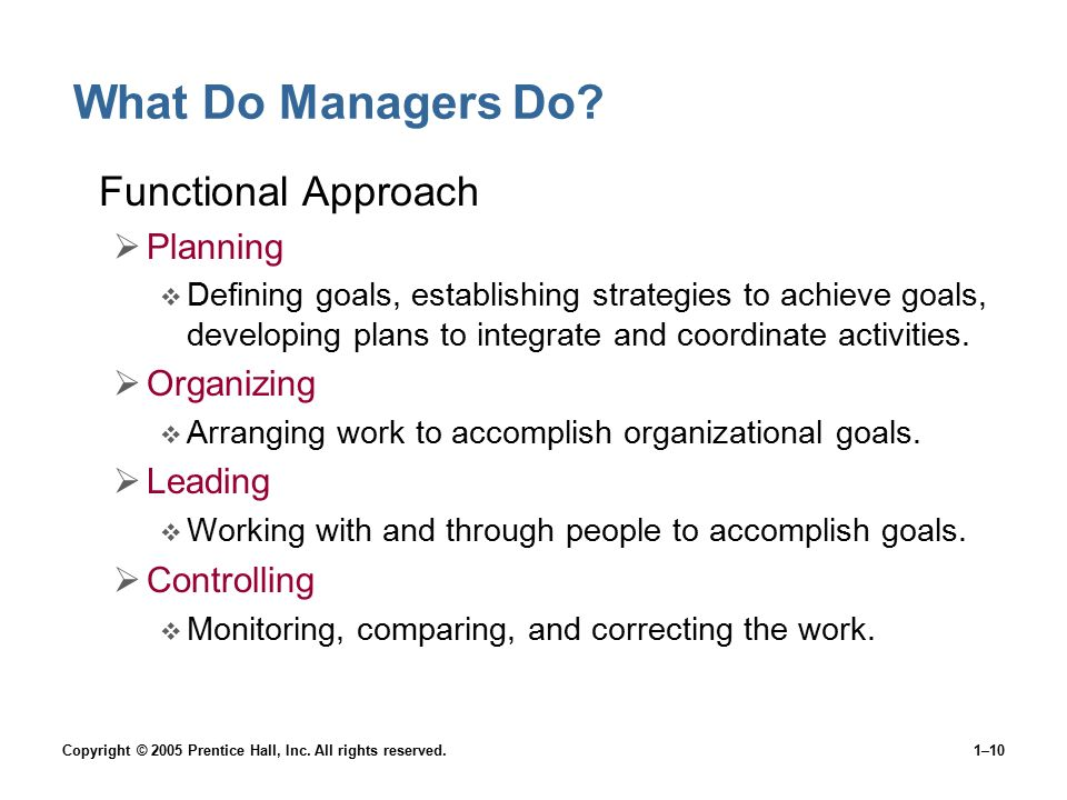 What Do Managers Do Functional Approach Planning Organizing Leading