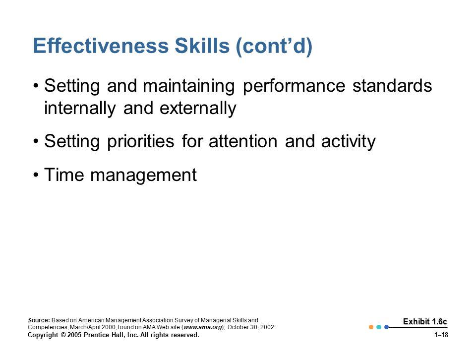 Effectiveness Skills (cont'd)