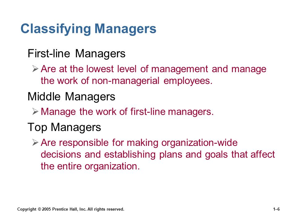 Classifying Managers First-line Managers Middle Managers Top Managers