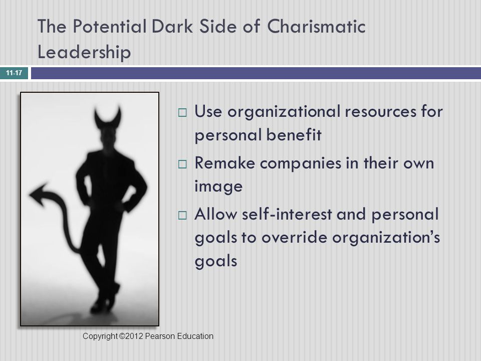 the role of the charismatic leader We present a theoretical analysis of the follower's role in the charismatic leadership process specifically, we distinguish between two types of charismatic relationships—personalized and socialized—and present general propositions about how followers' self-concepts may determine the type of charismatic relationship.