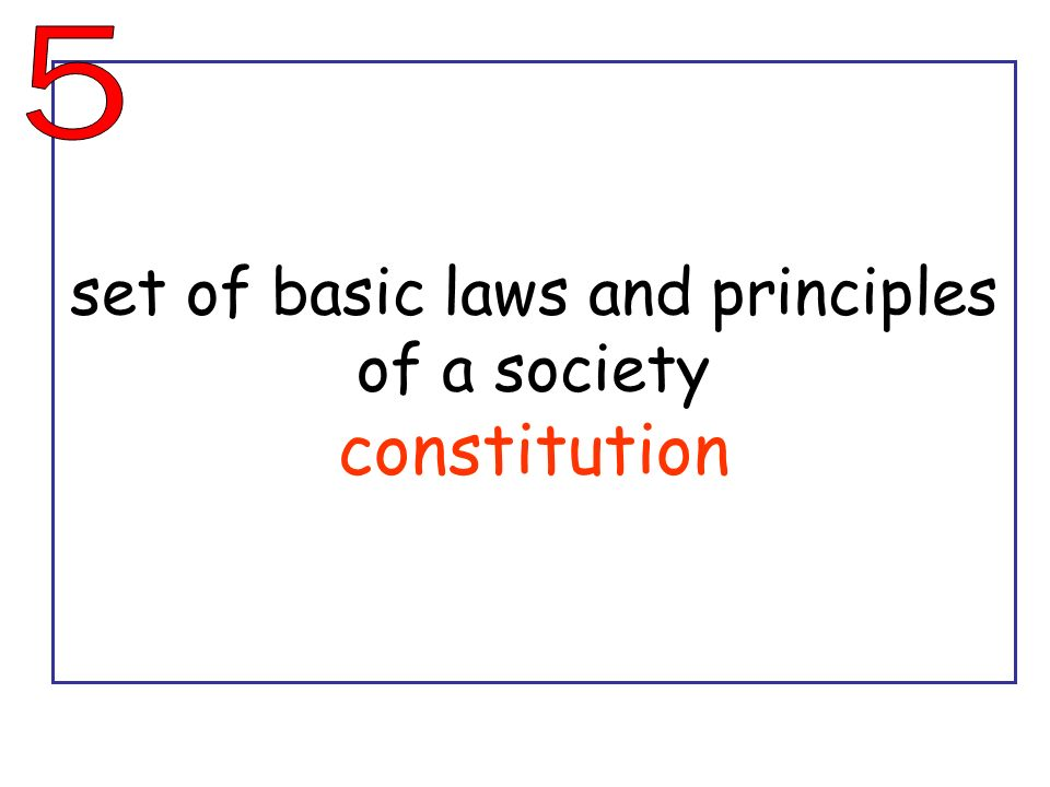 set of basic laws and principles of a society constitution