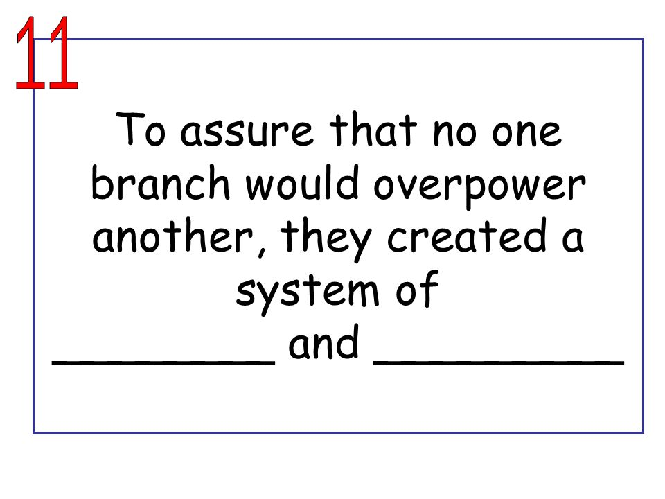11 To assure that no one branch would overpower another, they created a system of ________ and _________.