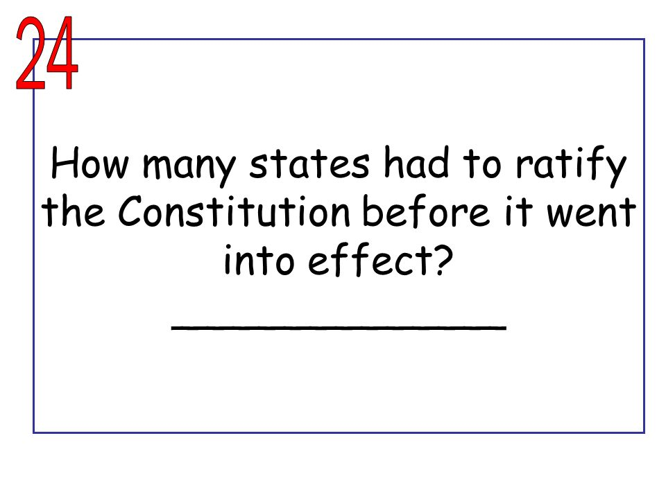 24 How many states had to ratify the Constitution before it went into effect _____________
