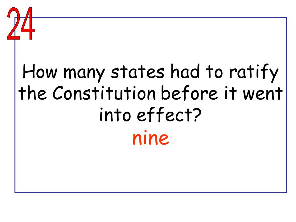 24 How many states had to ratify the Constitution before it went into effect nine