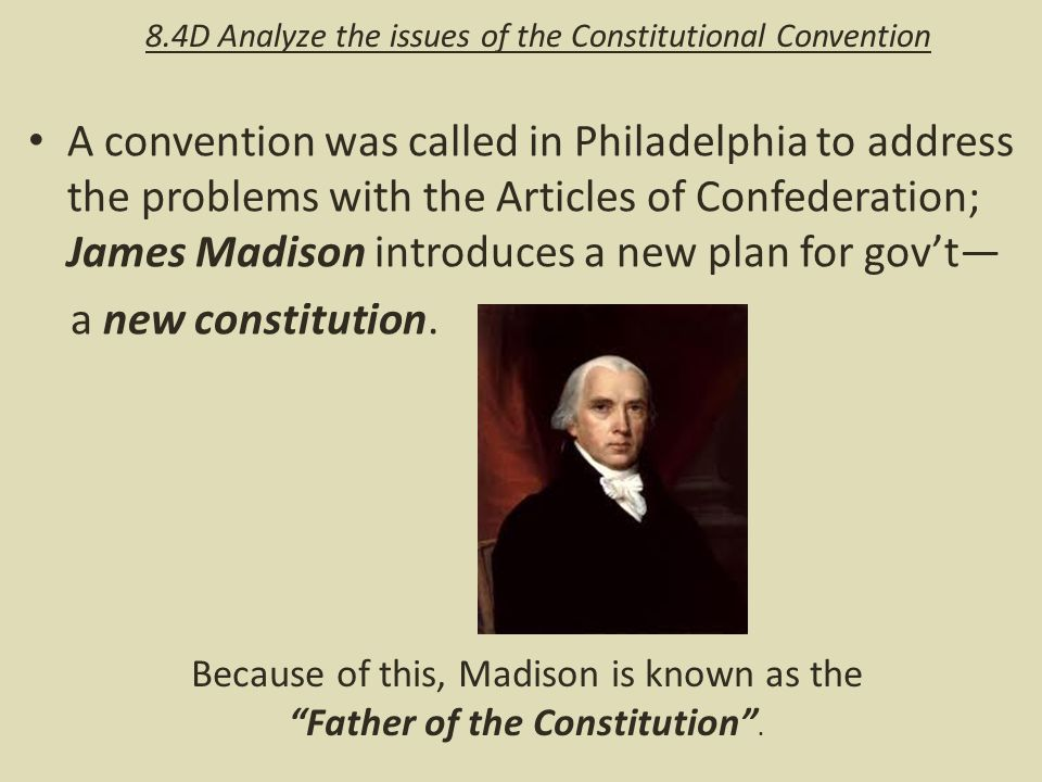 a description of the constitutional convention issues The issue of whether or how to count slaves was resolved by a formula used by   three-fifths compromise, the delegates to the convention allowed the slave.