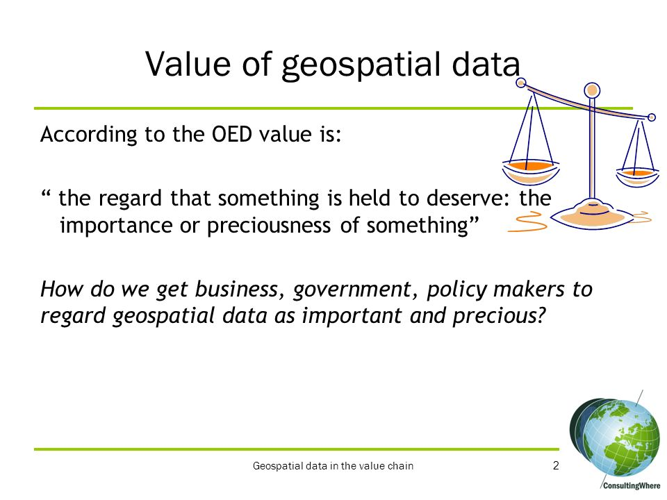 Value of geospatial data