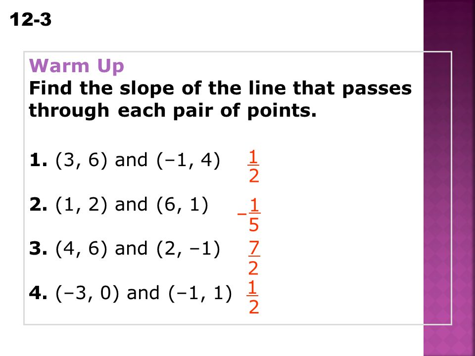 Warm up find the slope of the line that passes through each pair warm up find the slope of the line that passes through each pair of points ccuart Choice Image