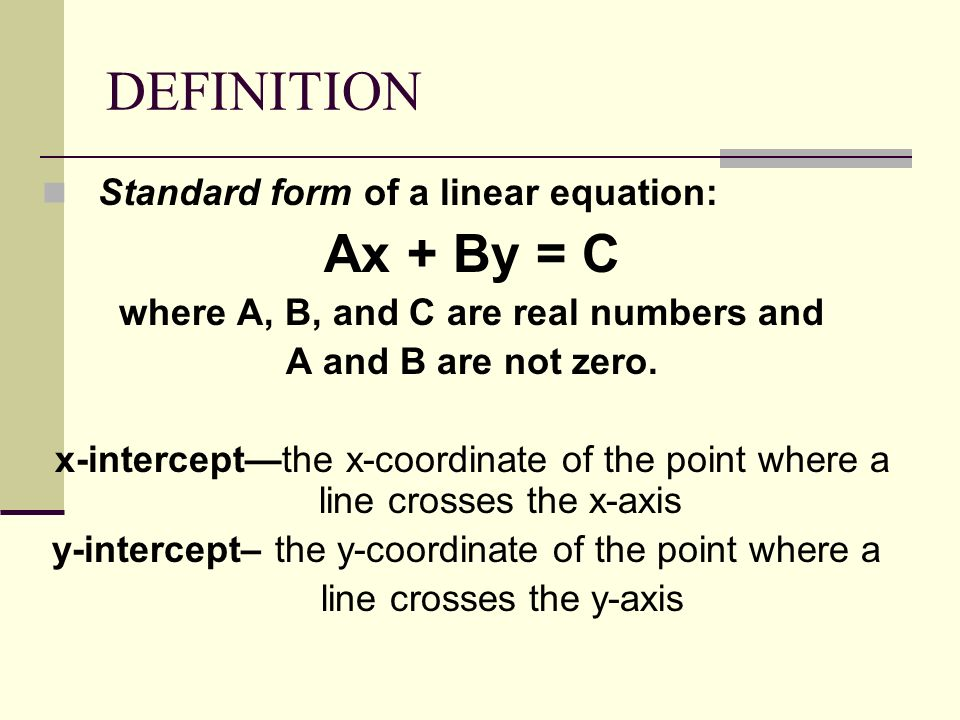Standard Form Of A Linear Equation Definition Fashion