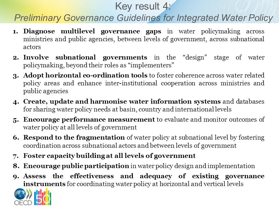Preliminary Governance Guidelines for Integrated Water Policy