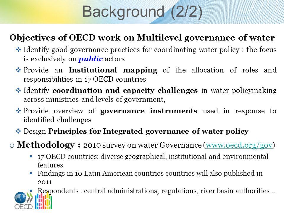 Background (2/2) Objectives of OECD work on Multilevel governance of water.