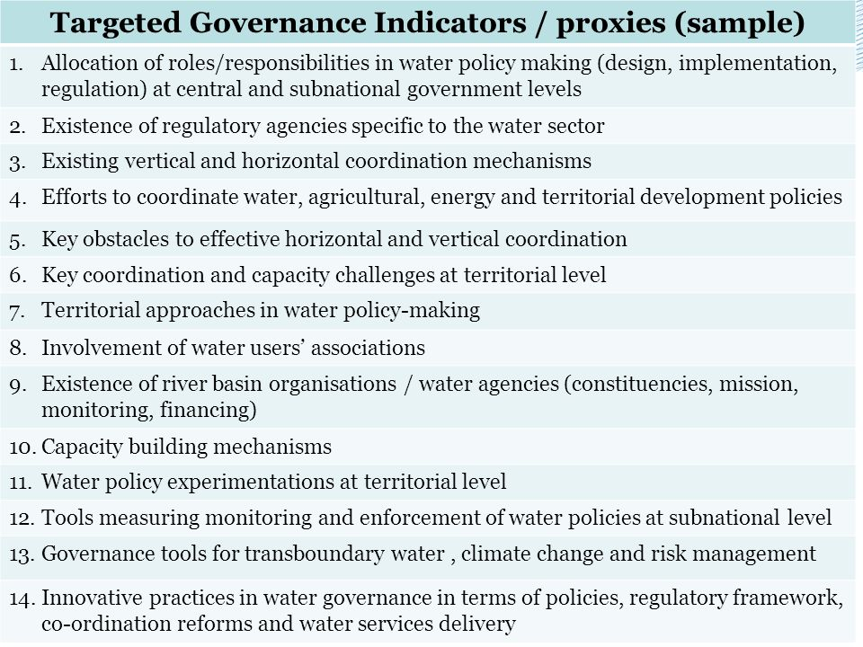 Targeted Governance Indicators / proxies (sample)