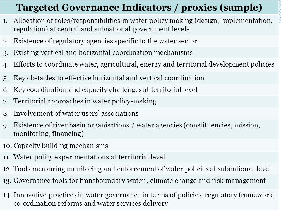 Targeted Governance Indicators / proxies (sample)