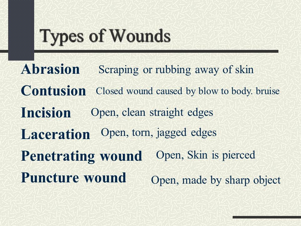 the different kinds of wounds and Different types of wounds abrasion : destruction of superficial layer of epidermis of skin it is 2-d (length and breadth) types: patterned abrasion.