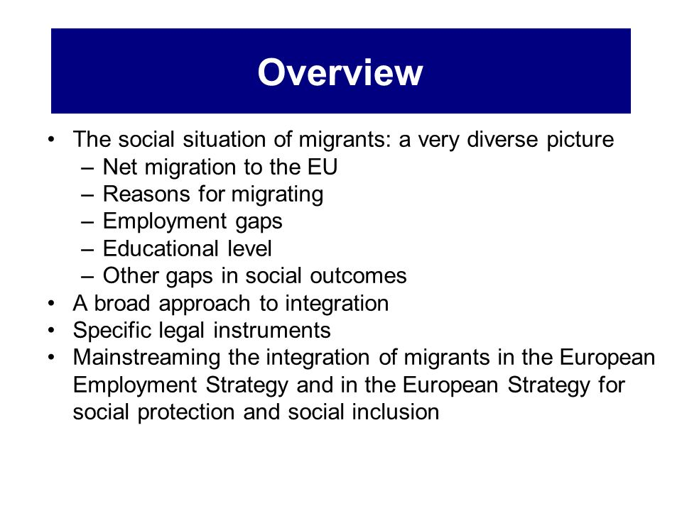 Overview The social situation of migrants: a very diverse picture