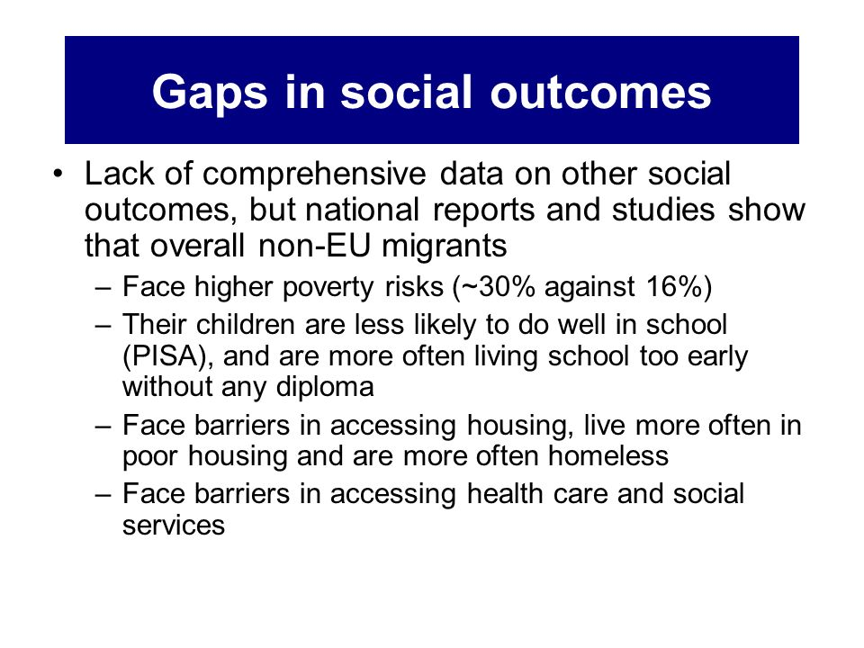 Gaps in social outcomes