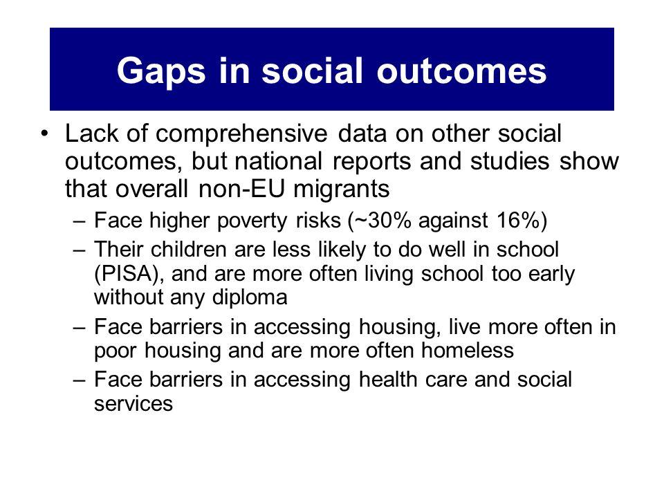 Gaps in social outcomes