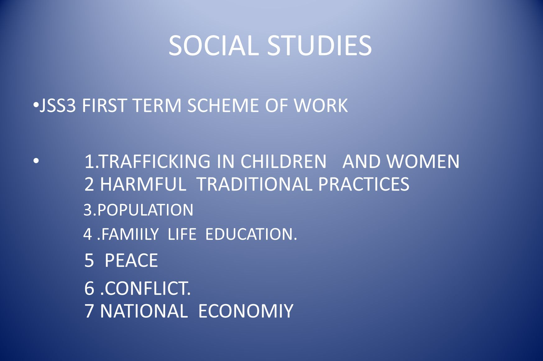 SOCIAL STUDIES JSS3 FIRST TERM SCHEME OF WORK
