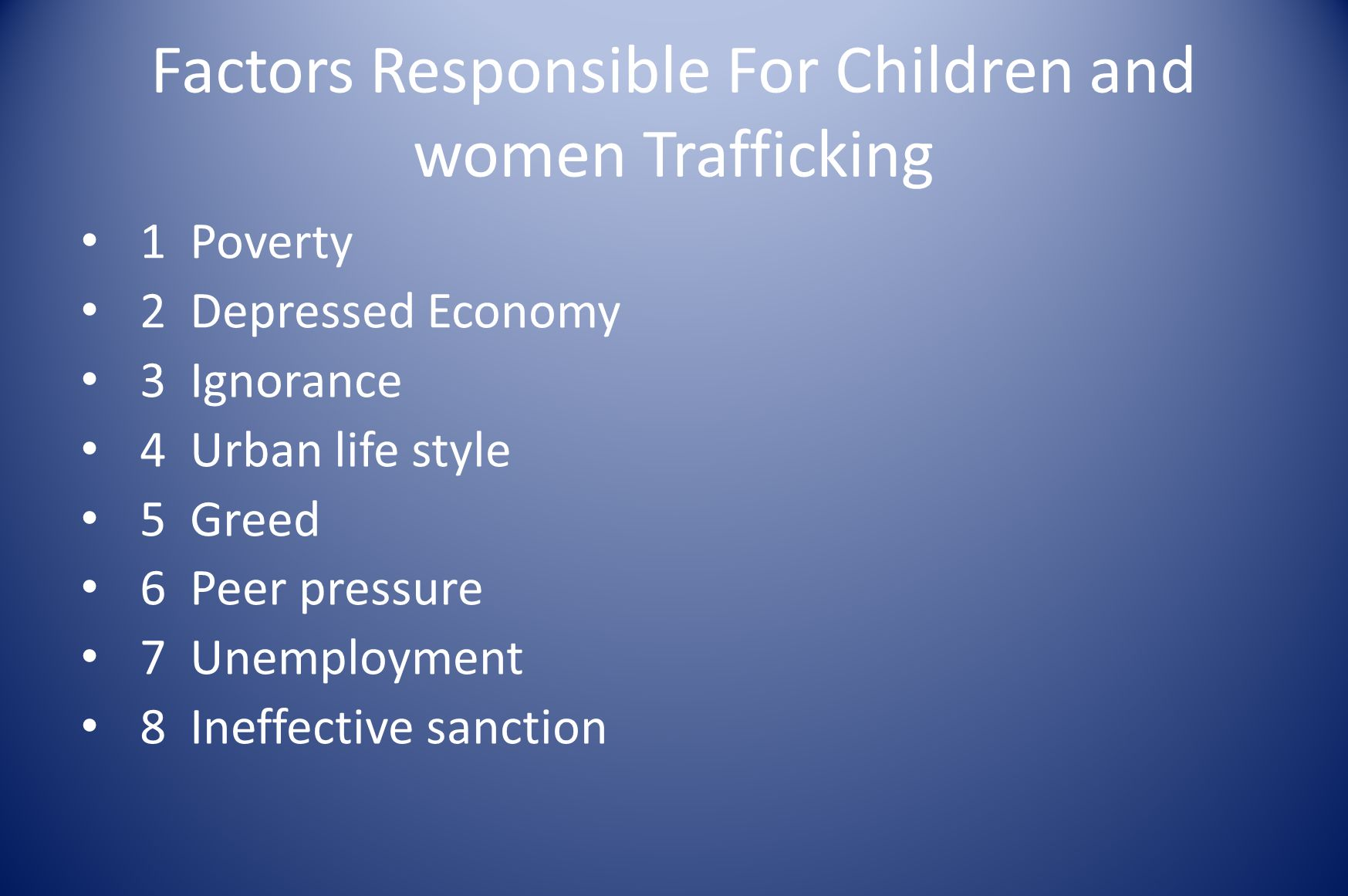 Factors Responsible For Children and women Trafficking