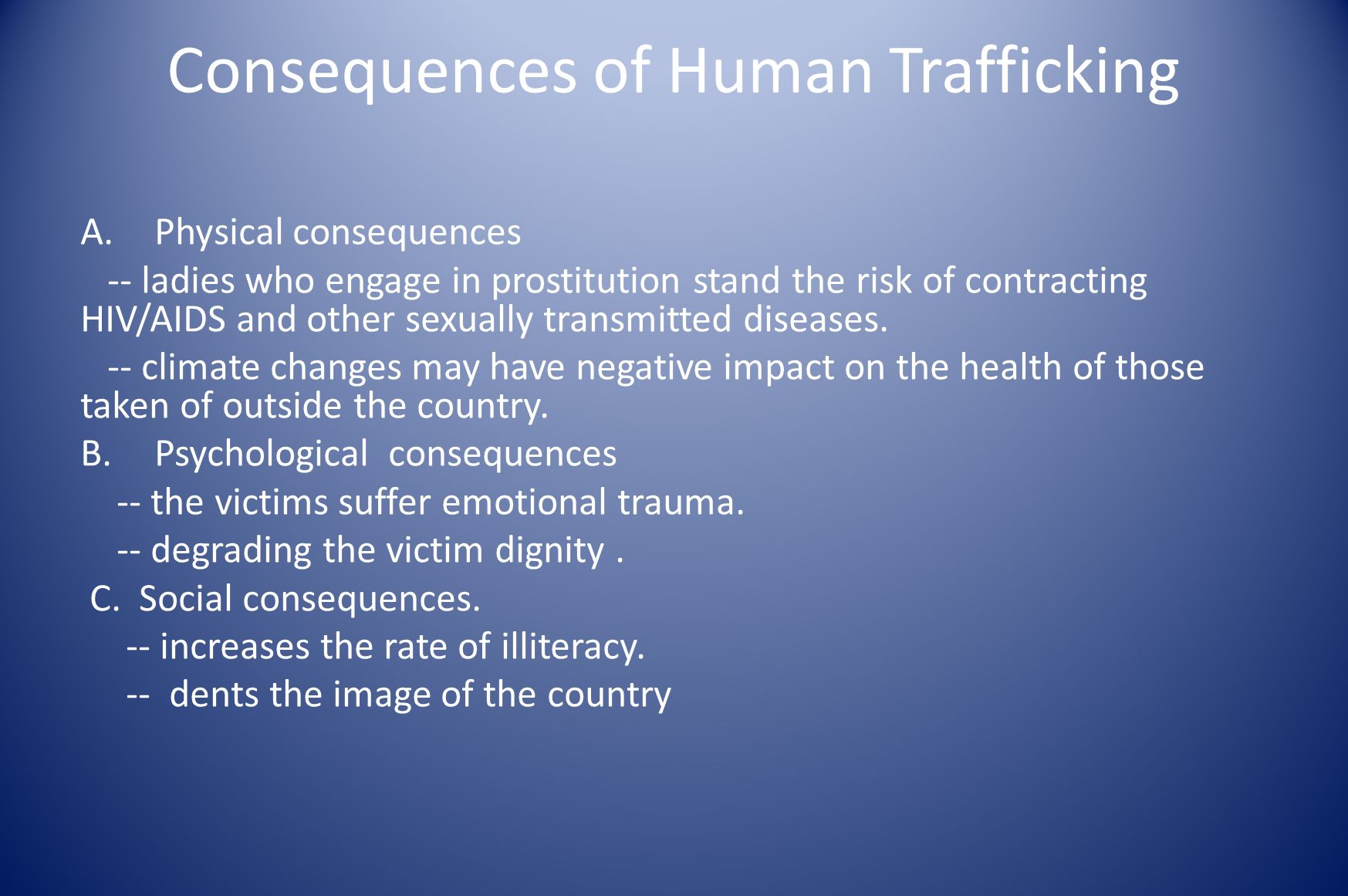 Consequences of Human Trafficking