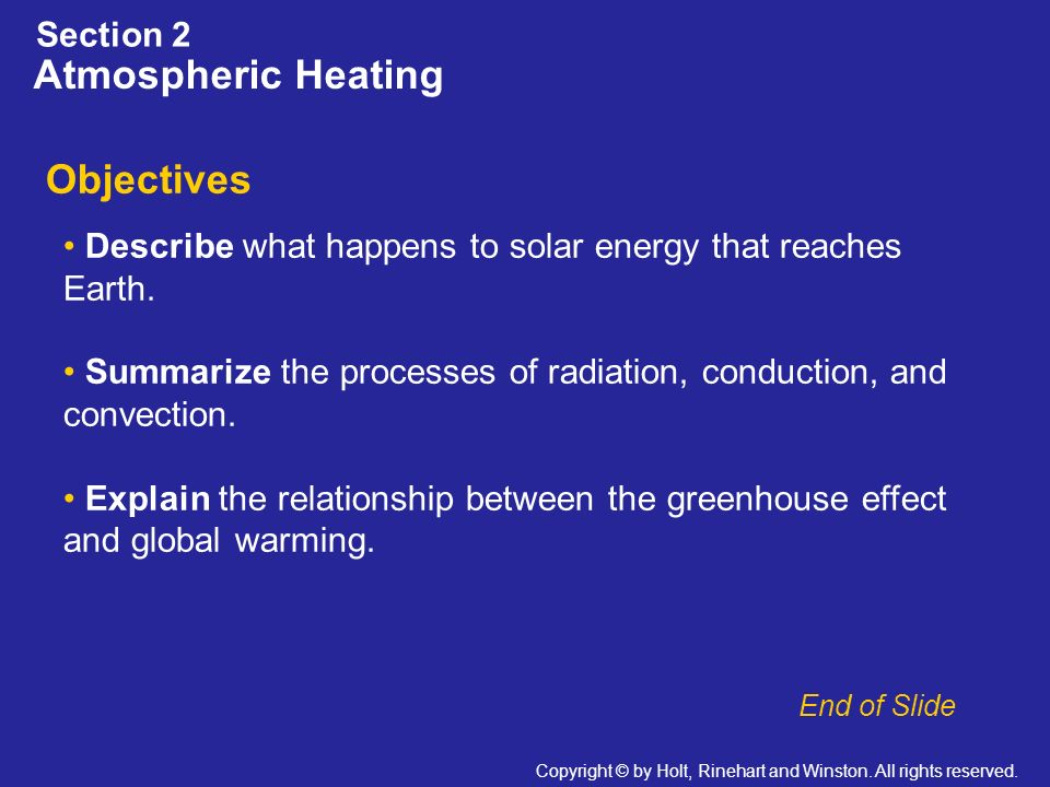 Atmospheric Heating Objectives Section 2