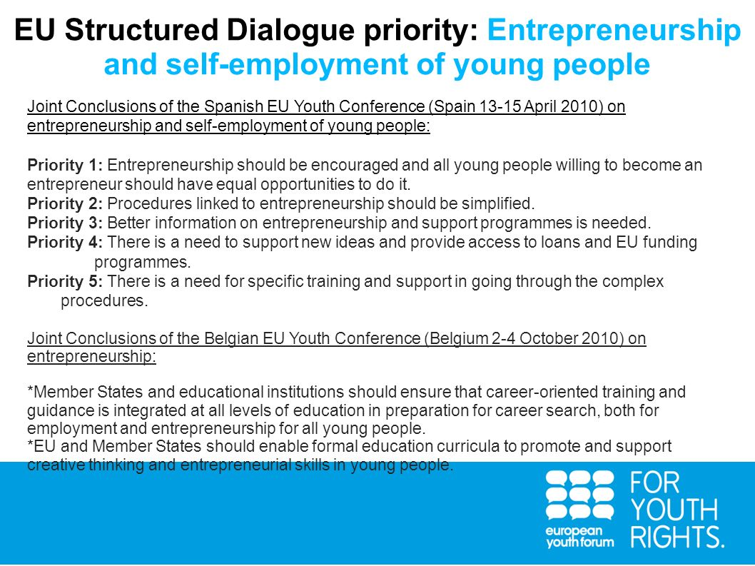 EU Structured Dialogue priority: Entrepreneurship and self-employment of young people
