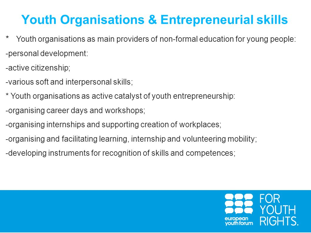 Youth Organisations & Entrepreneurial skills
