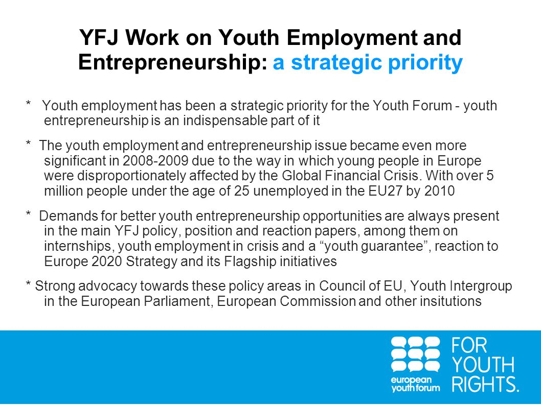 YFJ Work on Youth Employment and Entrepreneurship: a strategic priority