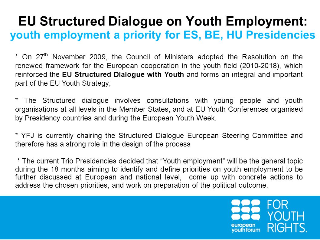 EU Structured Dialogue on Youth Employment: youth employment a priority for ES, BE, HU Presidencies