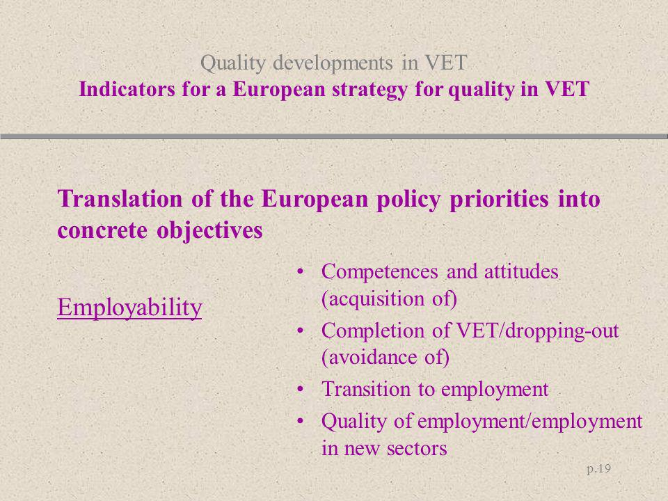 Translation of the European policy priorities into concrete objectives