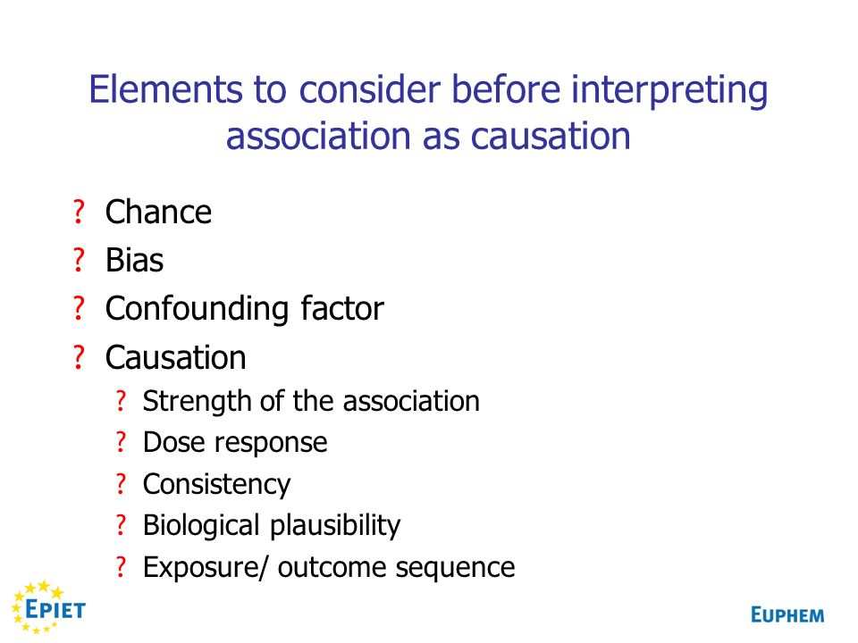 Elements to consider before interpreting association as causation