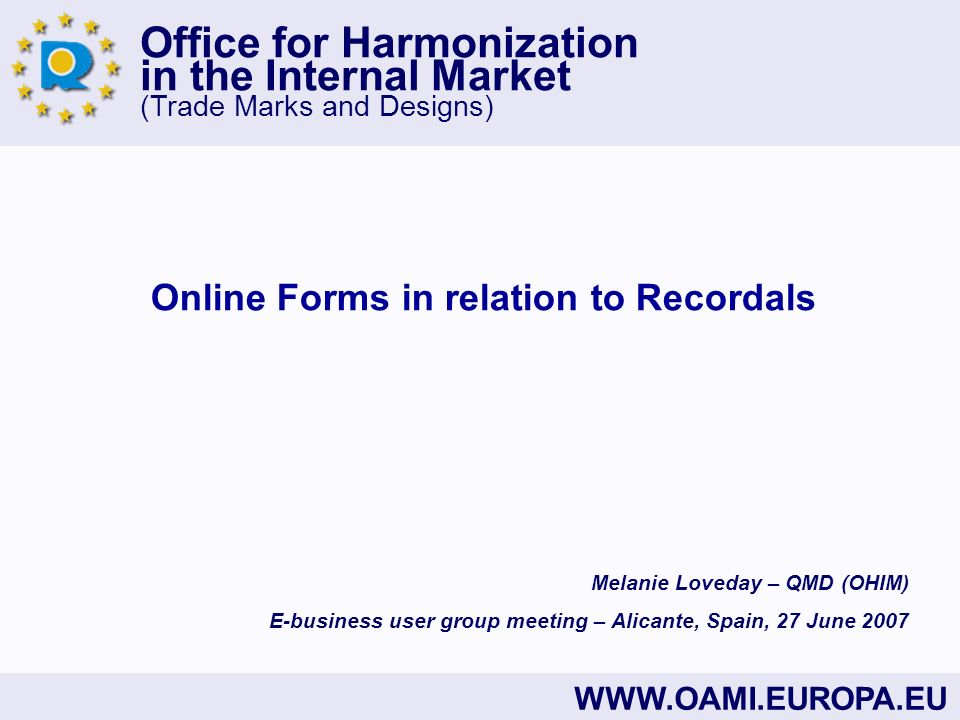 Online Forms in relation to Recordals