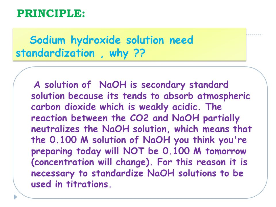 standardizing a solution of potassium hydroxide essay You will determine the concentration (standardize) of an unknown solution of naoh using the primary standard, potassium hydrogen phthalate introduction sodium hydroxide is hygroscopic and absorbs water from the air when you place it on the balance for massing.