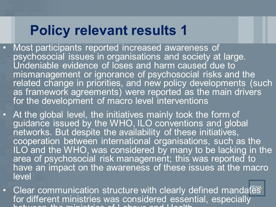 Policy relevant results 1