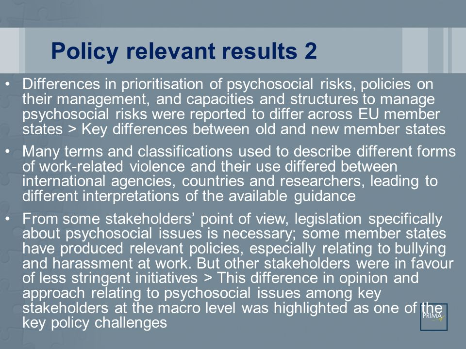 Policy relevant results 2