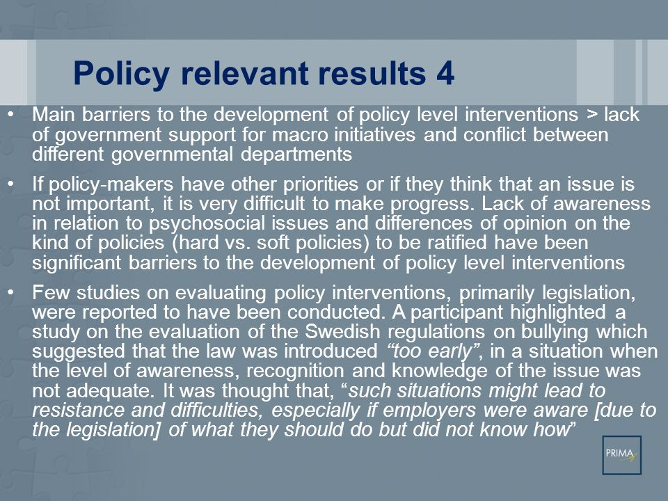 Policy relevant results 4