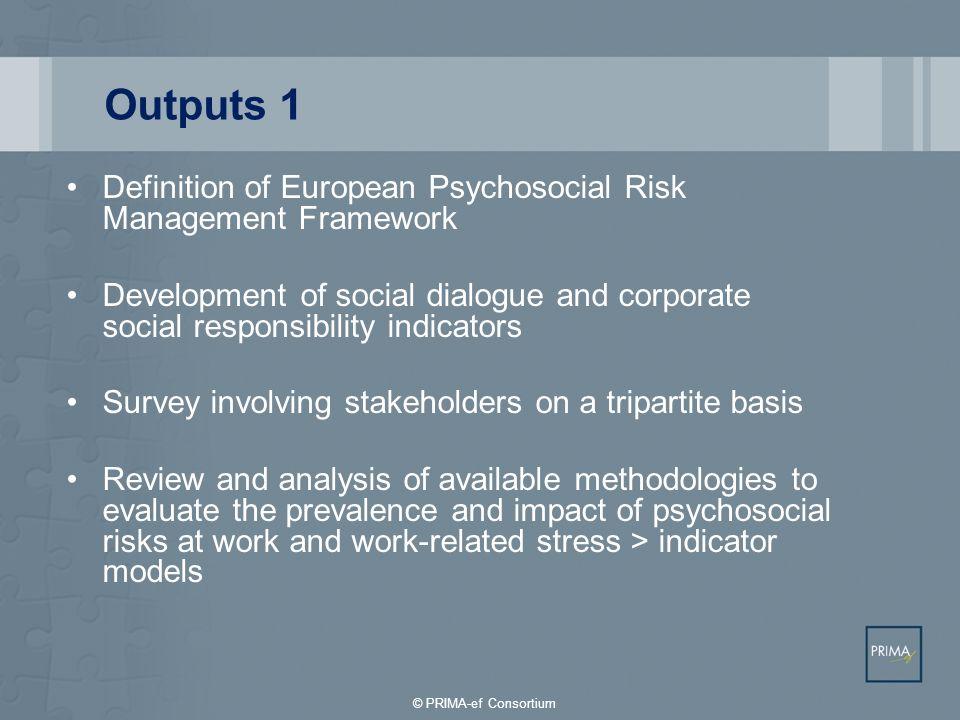 Outputs 1Definition of European Psychosocial Risk Management Framework.