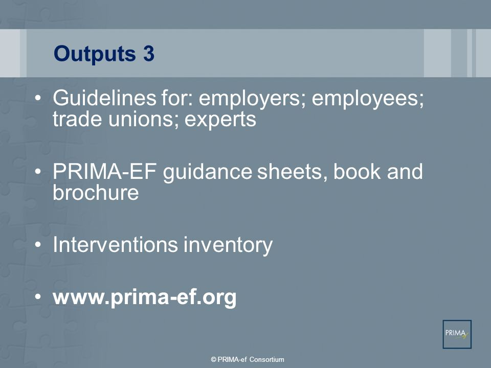 Guidelines for: employers; employees; trade unions; experts